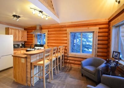 Patrick built the cabin and decked it out with concrete countertops
