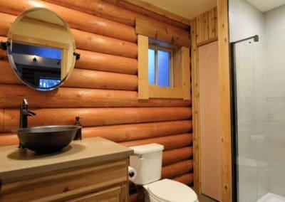 The bathroom also features a concrete countertop.