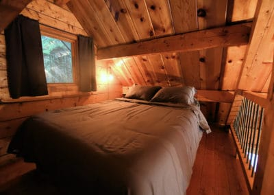 The loft has a queen bed with views of the forest out back